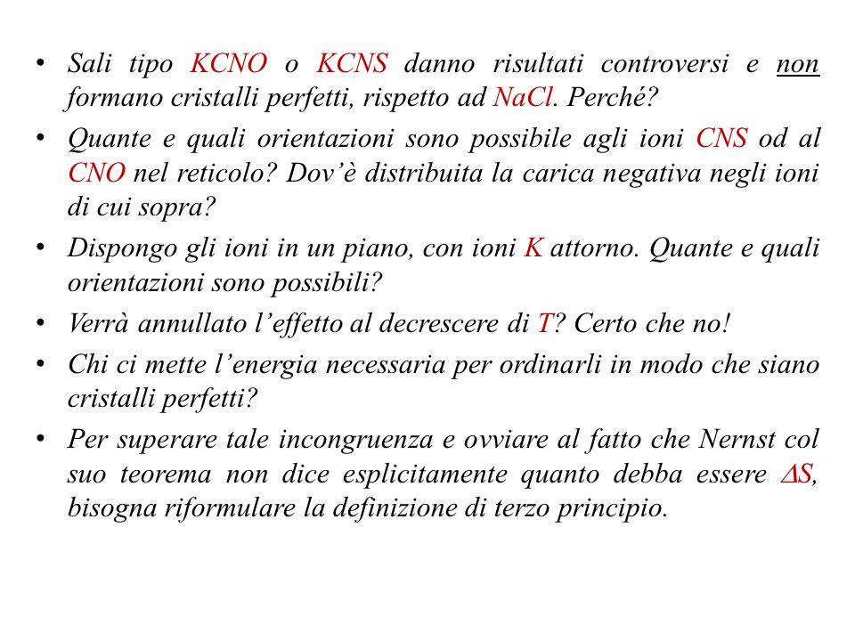 Sali tipo KCNO o KCNS danno risultati controversi e non formano cristalli perfetti, rispetto ad NaCl. Perché