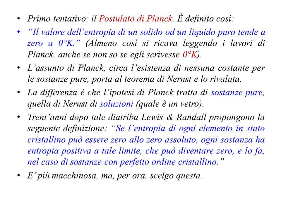 Primo tentativo: il Postulato di Planck. È definito così: