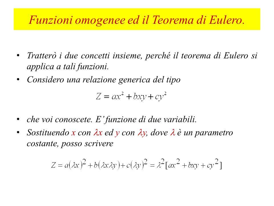 Funzioni omogenee ed il Teorema di Eulero.