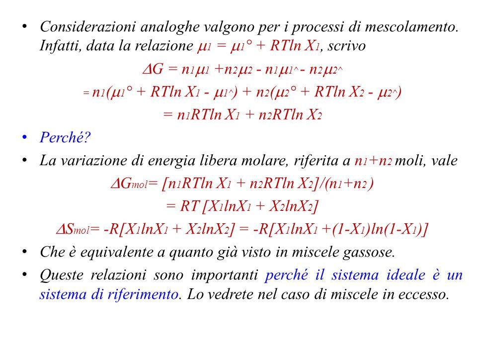 La variazione di energia libera molare, riferita a n1+n2 moli, vale