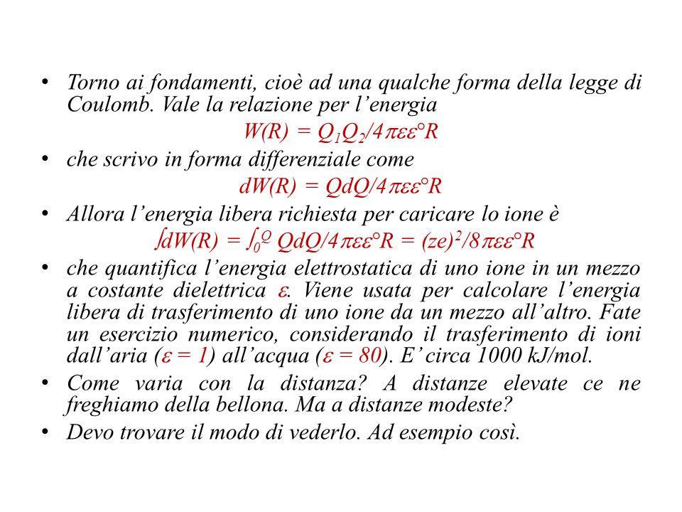 ∫dW(R) = 0Q QdQ/4pee°R = (ze)2/8pee°R
