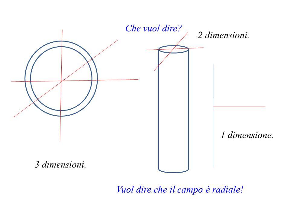 Che vuol dire 2 dimensioni. 1 dimensione. 3 dimensioni. Vuol dire che il campo è radiale!