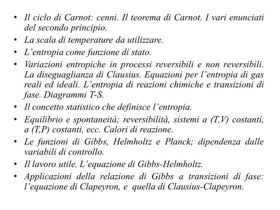 Il ciclo di Carnot: cenni. Il teorema di Carnot