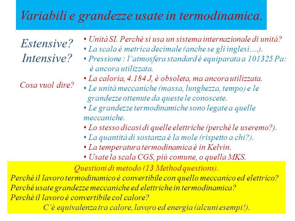 Variabili e grandezze usate in termodinamica.