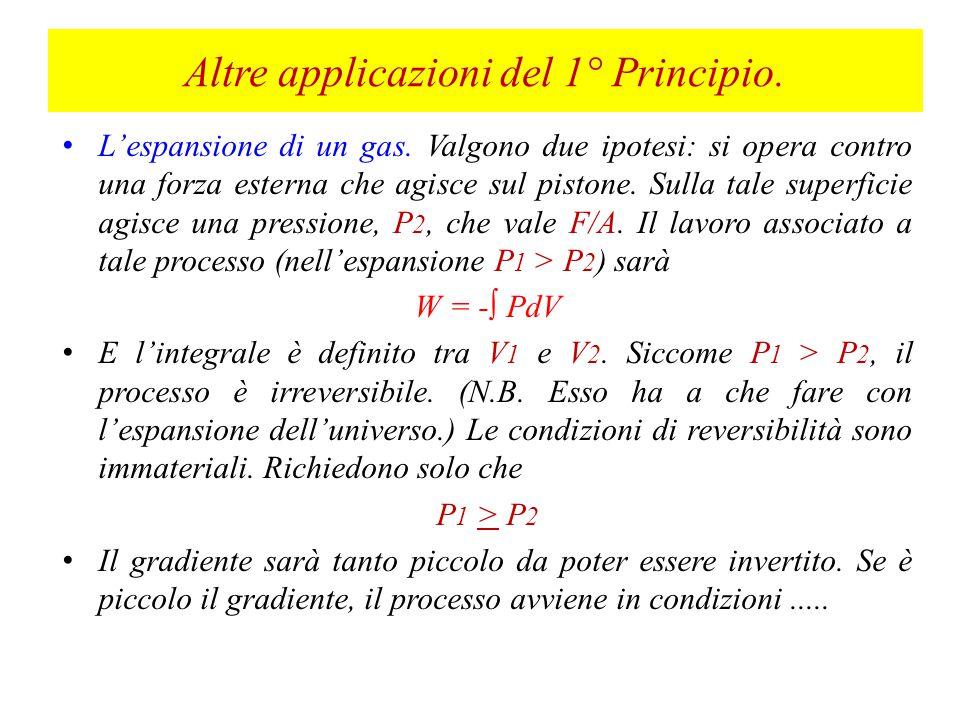 Altre applicazioni del 1° Principio.