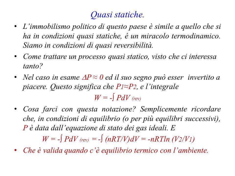 W = -∫ PdV (rev) = -∫ (nRT/V)dV = -nRTln (V2/V1)