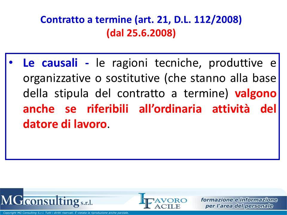 Contratto a termine (art. 21, D.L. 112/2008) (dal 25.6.2008)