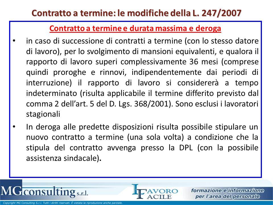 Contratto a termine: le modifiche della L. 247/2007