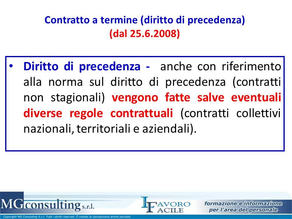 Contratto a termine (diritto di precedenza) (dal 25.6.2008)