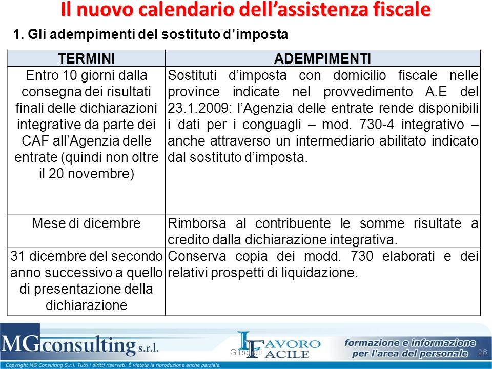 Il nuovo calendario dell'assistenza fiscale
