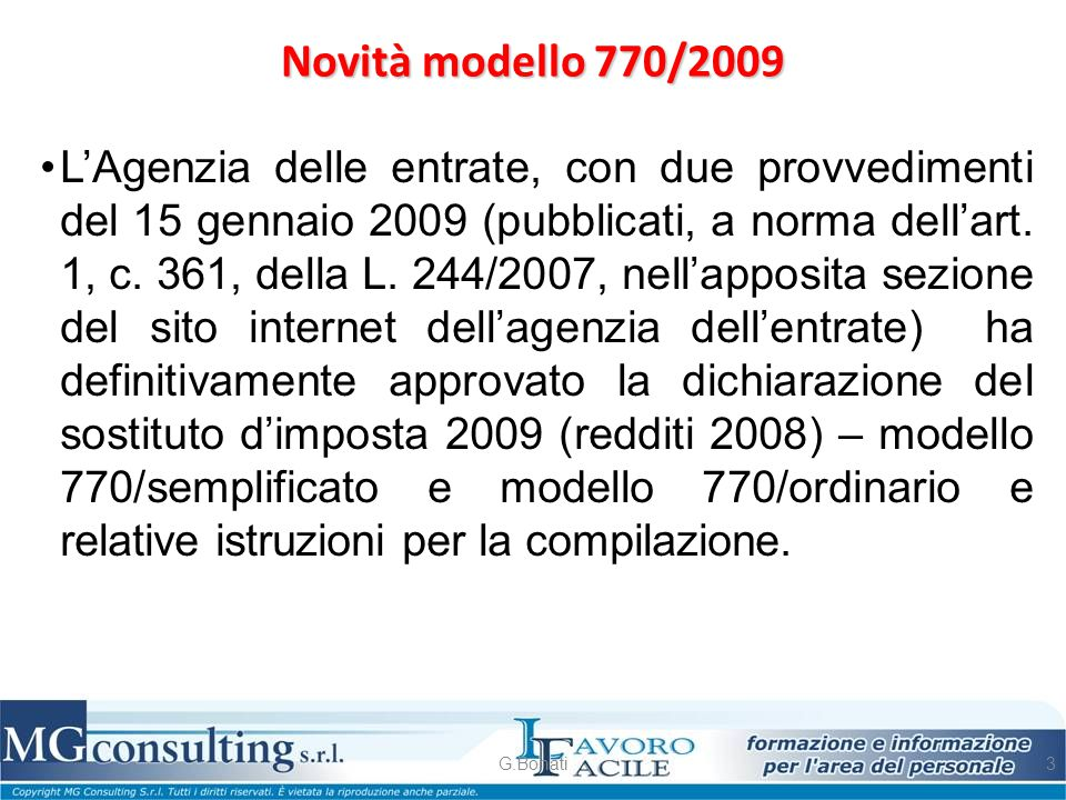 Novità modello 770/2009