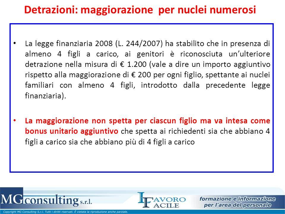 Detrazioni: maggiorazione per nuclei numerosi