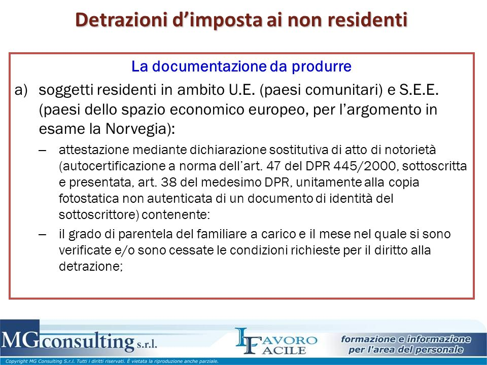 Detrazioni d'imposta ai non residenti