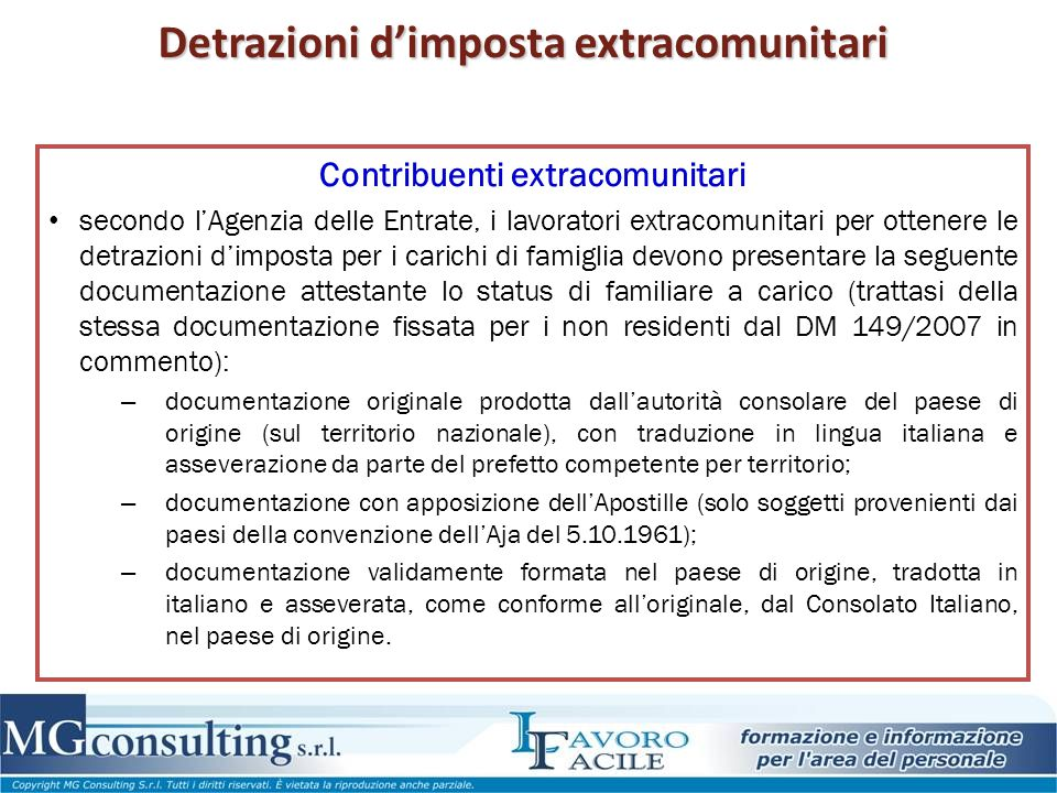 Detrazioni d'imposta extracomunitari