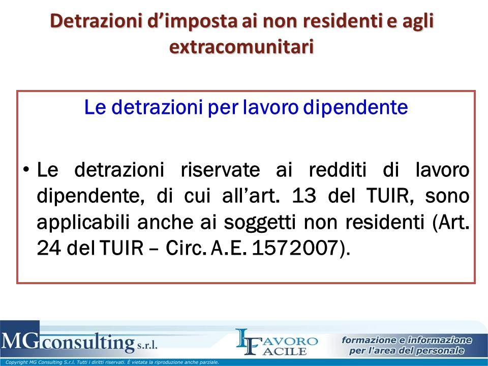 Detrazioni d'imposta ai non residenti e agli extracomunitari