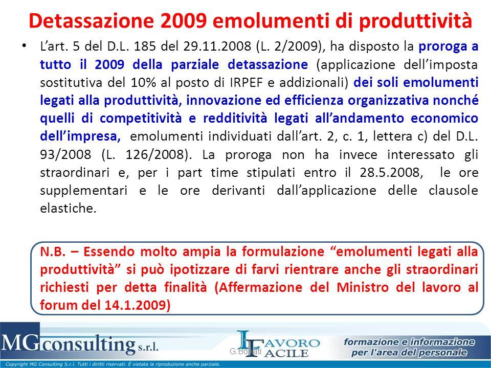 Detassazione 2009 emolumenti di produttività