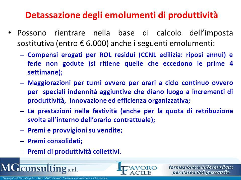 Detassazione degli emolumenti di produttività