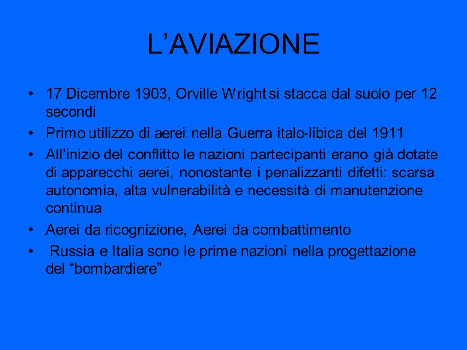 L'AVIAZIONE 17 Dicembre 1903, Orville Wright si stacca dal suolo per 12 secondi. Primo utilizzo di aerei nella Guerra italo-libica del 1911.