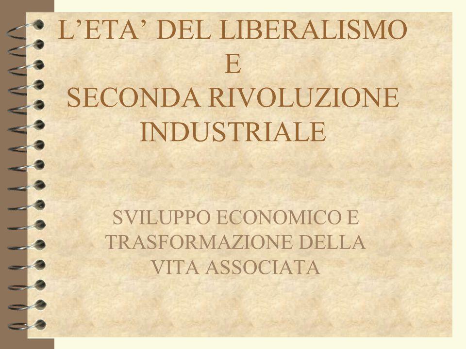 L'ETA' DEL LIBERALISMO E SECONDA RIVOLUZIONE INDUSTRIALE