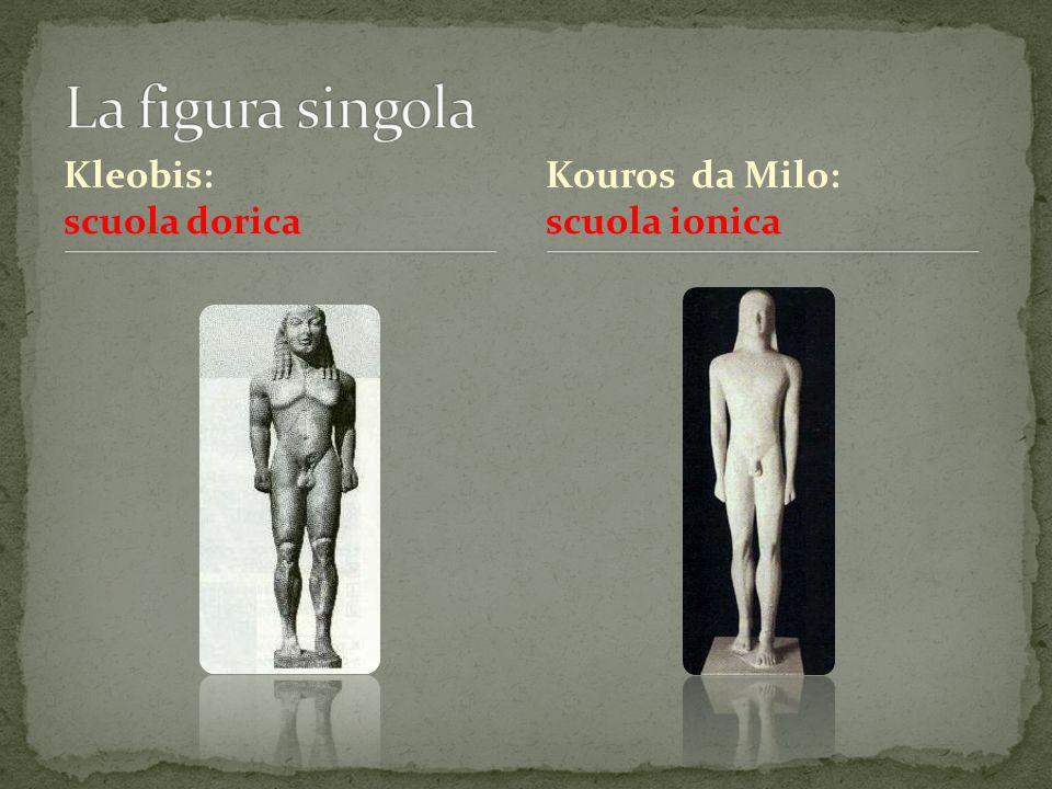 La figura singola Kleobis: scuola dorica Kouros da Milo: scuola ionica