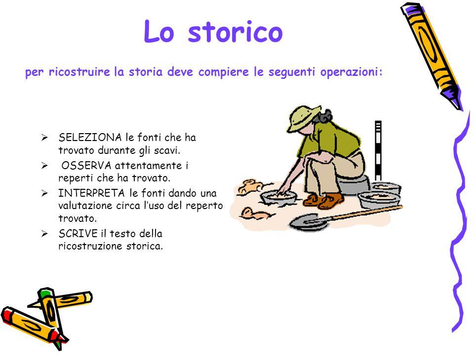 Lo storico per ricostruire la storia deve compiere le seguenti operazioni: SELEZIONA le fonti che ha trovato durante gli scavi.