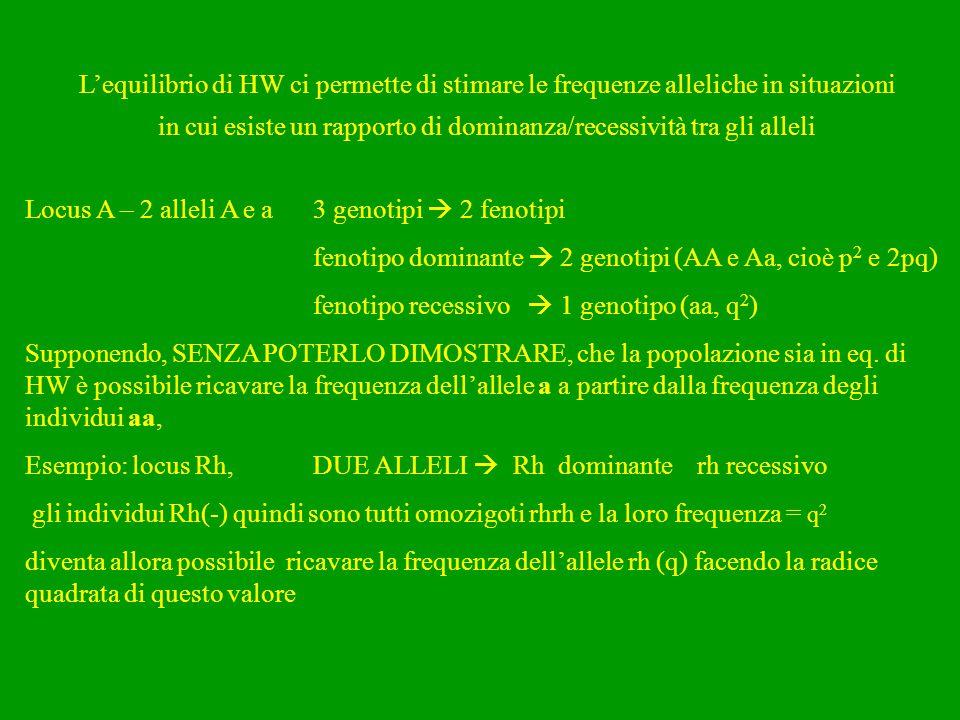 L'equilibrio di HW ci permette di stimare le frequenze alleliche in situazioni in cui esiste un rapporto di dominanza/recessività tra gli alleli