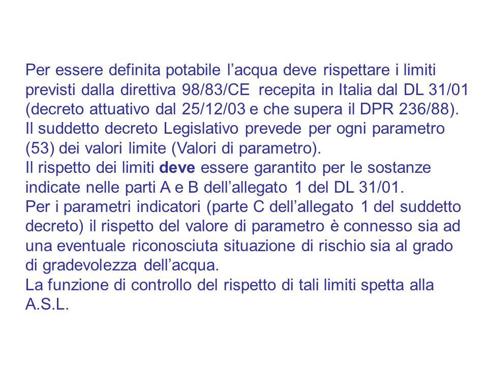 Per essere definita potabile l'acqua deve rispettare i limiti previsti dalla direttiva 98/83/CE recepita in Italia dal DL 31/01 (decreto attuativo dal 25/12/03 e che supera il DPR 236/88). Il suddetto decreto Legislativo prevede per ogni parametro (53) dei valori limite (Valori di parametro).