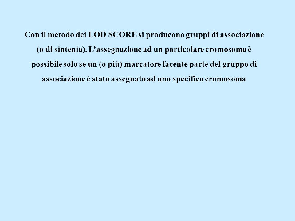 Con il metodo dei LOD SCORE si producono gruppi di associazione (o di sintenia).