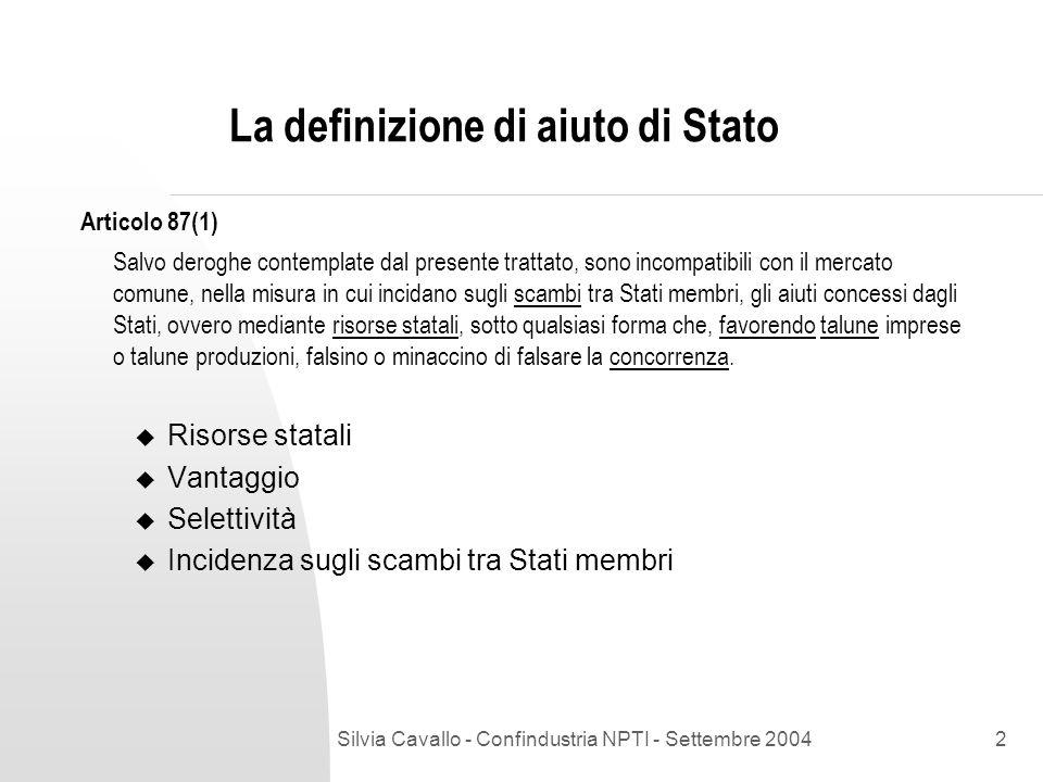 La definizione di aiuto di Stato