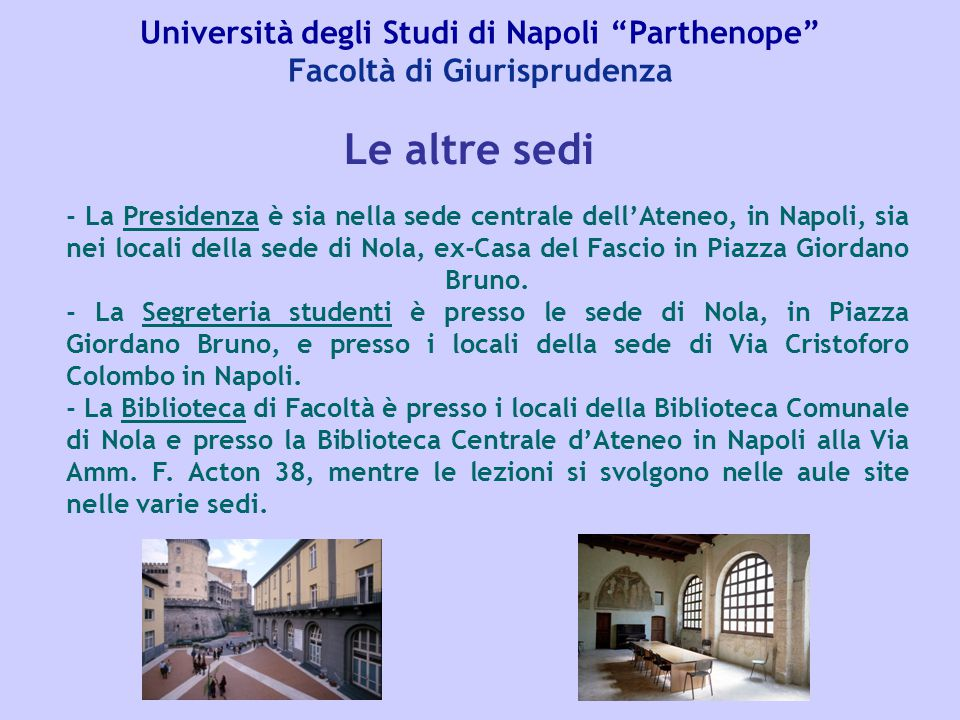 Università degli Studi di Napoli Parthenope Facoltà di Giurisprudenza