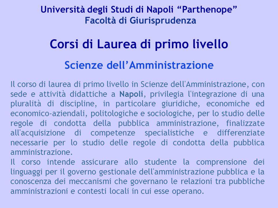 Corsi di Laurea di primo livello Scienze dell'Amministrazione