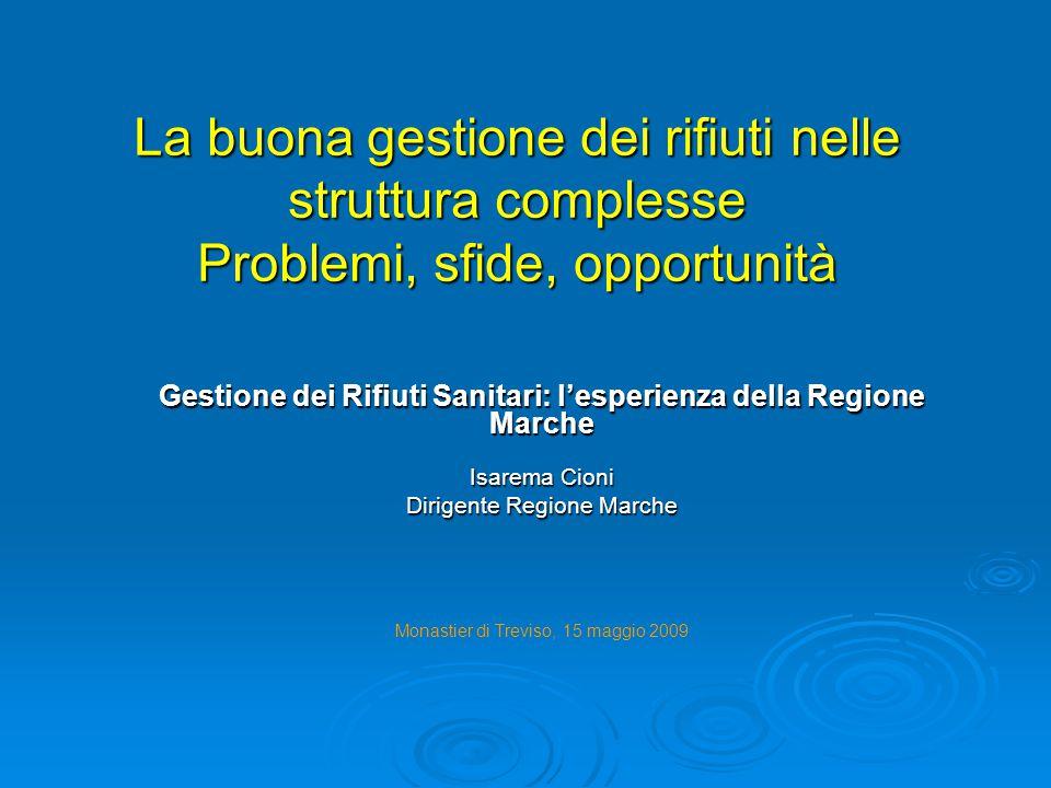 Gestione dei Rifiuti Sanitari: l'esperienza della Regione Marche
