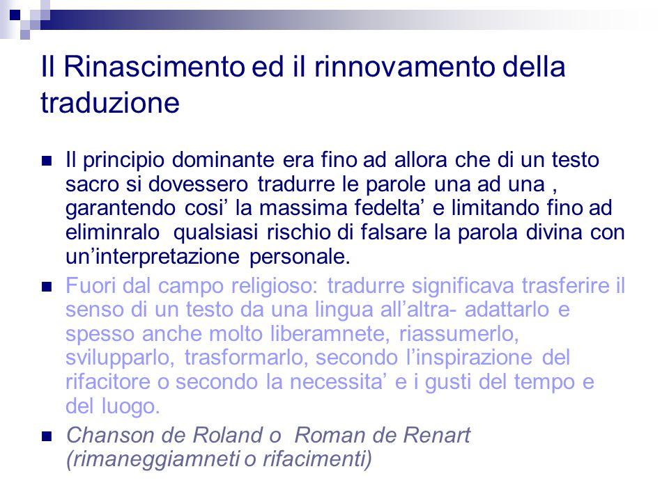 Il Rinascimento ed il rinnovamento della traduzione