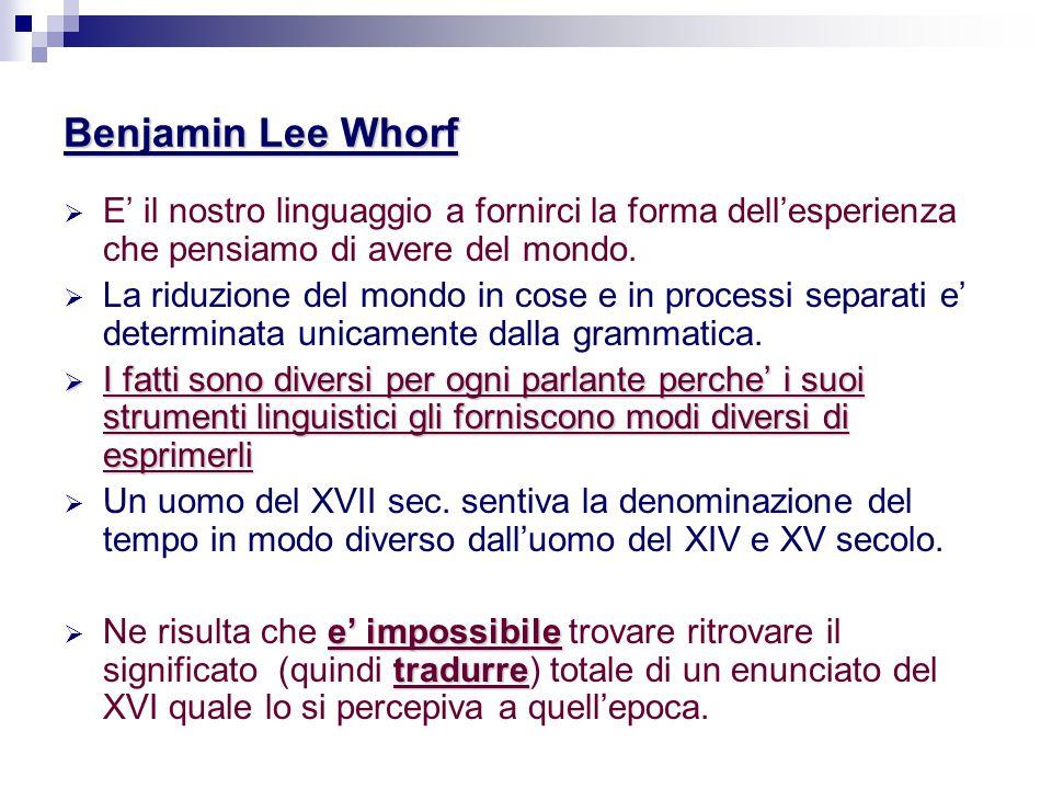 Benjamin Lee Whorf E' il nostro linguaggio a fornirci la forma dell'esperienza che pensiamo di avere del mondo.