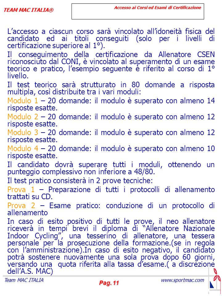 Accesso ai Corsi ed Esami di Certificazione