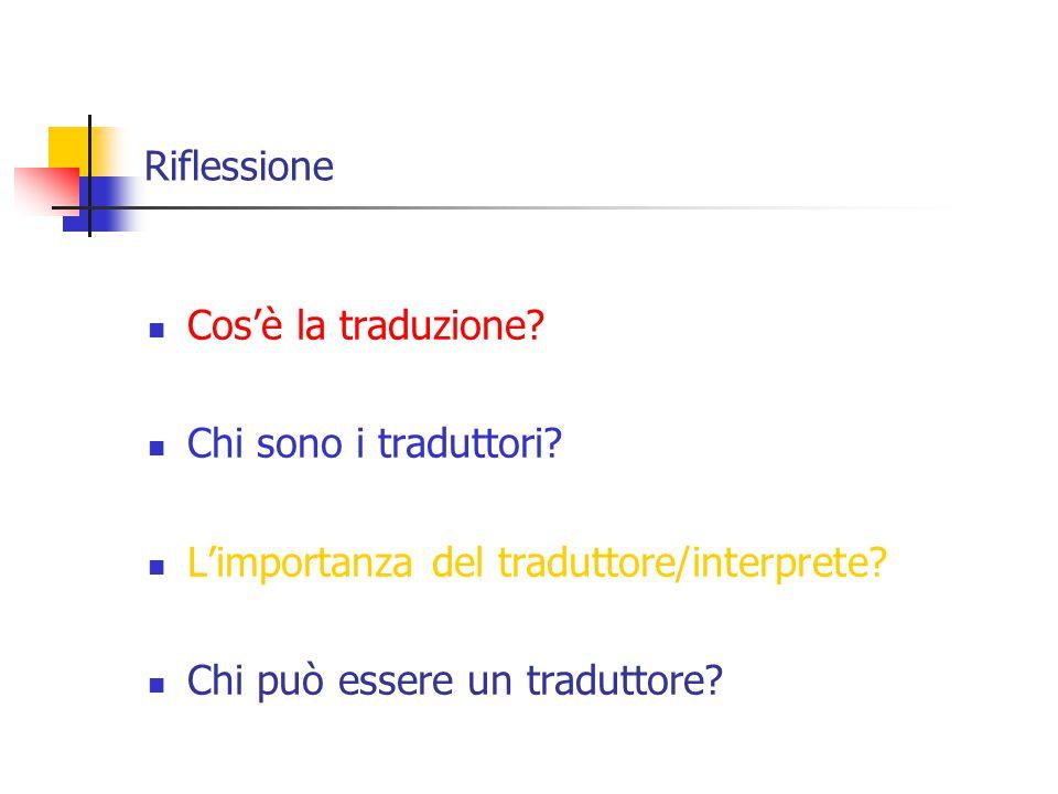 Riflessione Cos'è la traduzione. Chi sono i traduttori.
