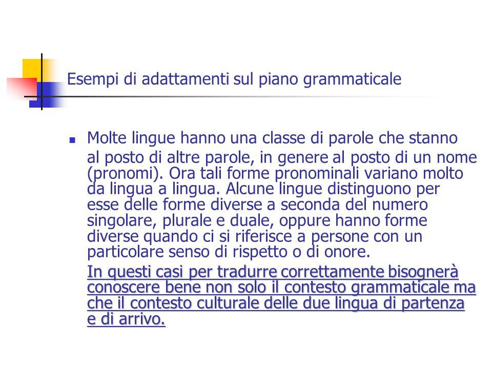 Esempi di adattamenti sul piano grammaticale