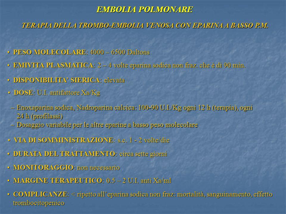 TERAPIA DELLA TROMBO-EMBOLIA VENOSA CON EPARINA A BASSO P.M.