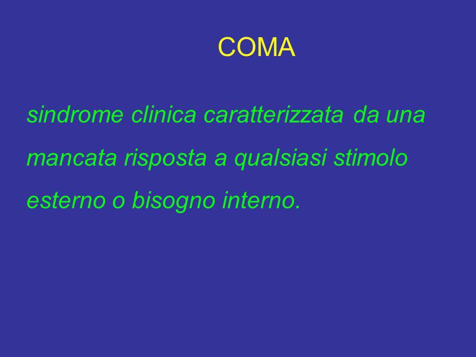 COMA sindrome clinica caratterizzata da una mancata risposta a qualsiasi stimolo esterno o bisogno interno.