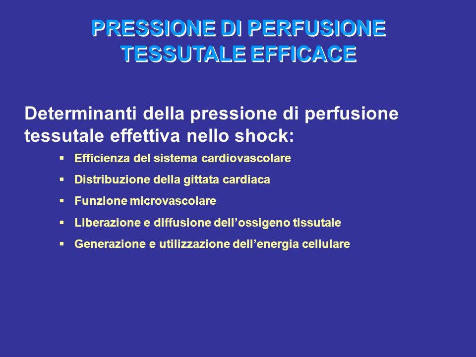 PRESSIONE DI PERFUSIONE TESSUTALE EFFICACE