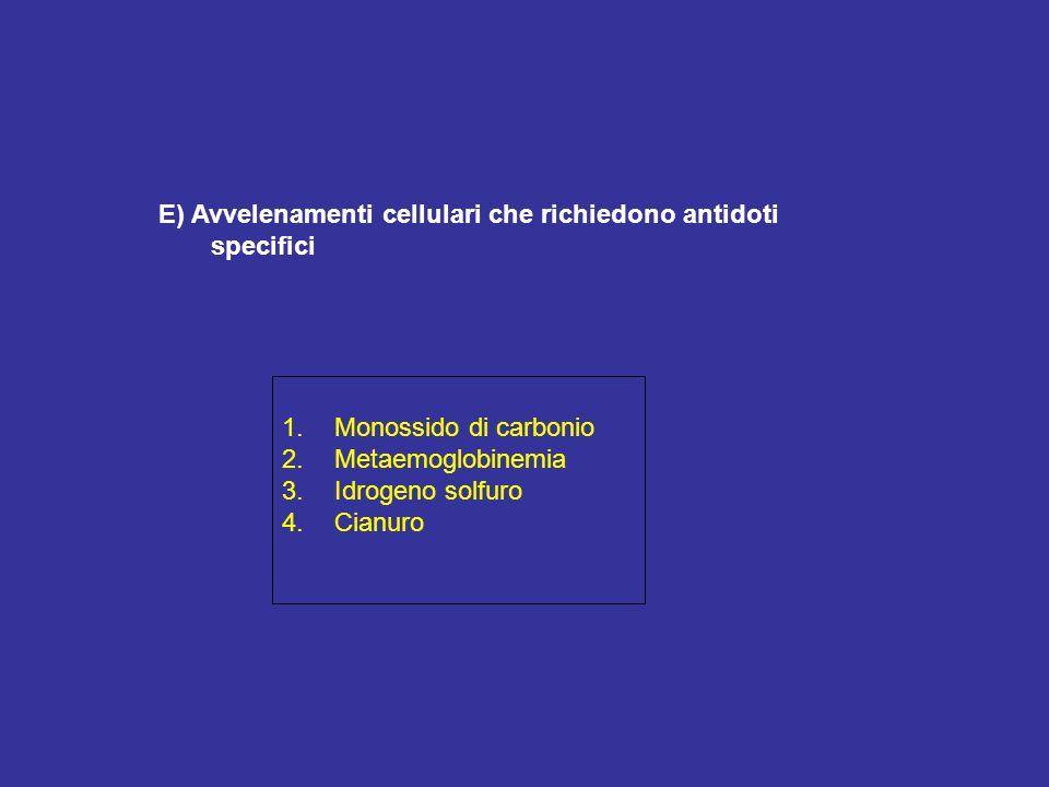 E) Avvelenamenti cellulari che richiedono antidoti specifici