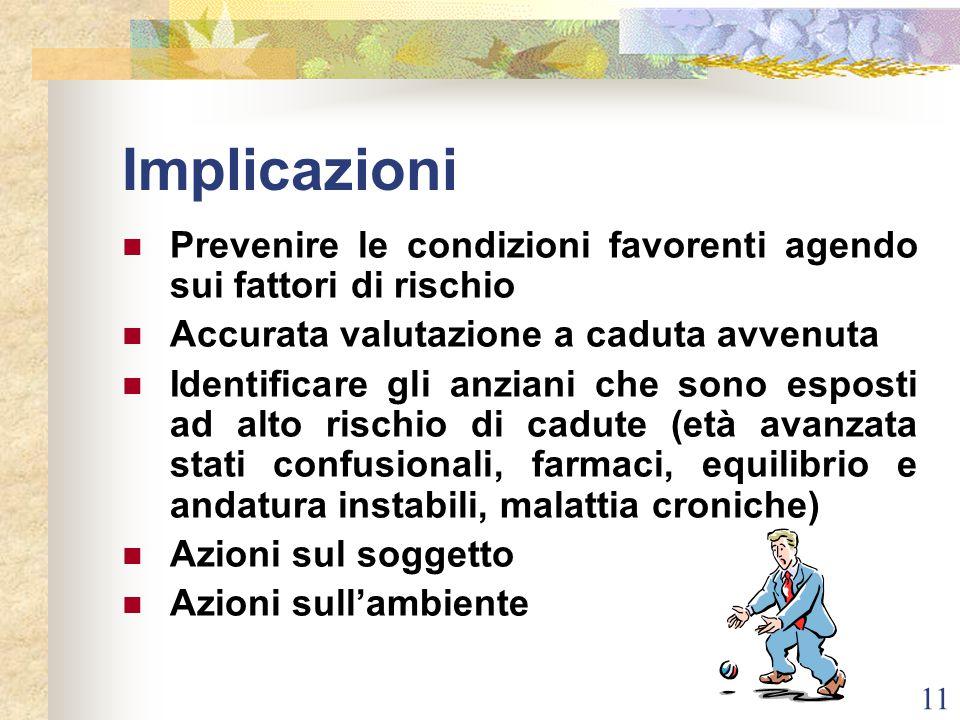 Implicazioni Prevenire le condizioni favorenti agendo sui fattori di rischio. Accurata valutazione a caduta avvenuta.