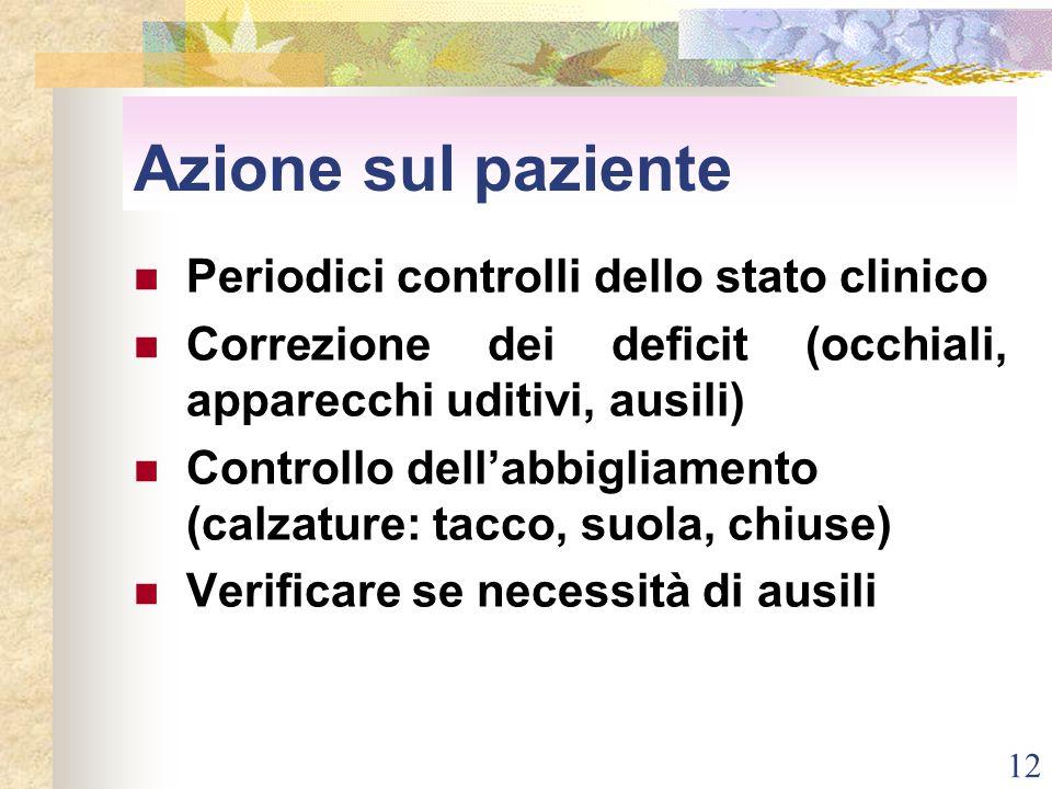 Azione sul paziente Periodici controlli dello stato clinico