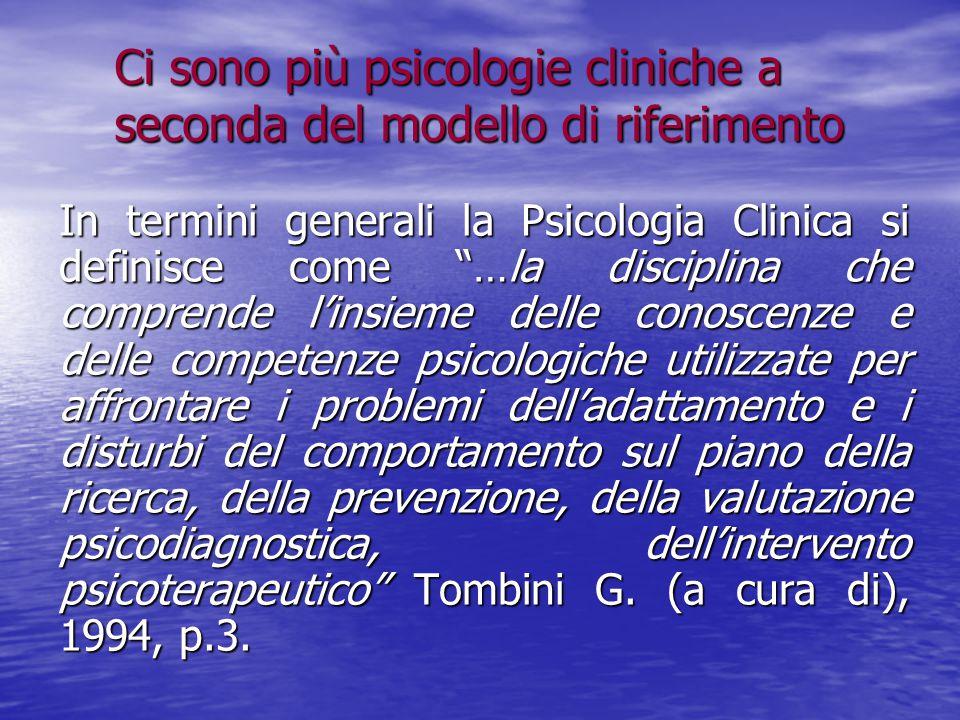 Ci sono più psicologie cliniche a seconda del modello di riferimento