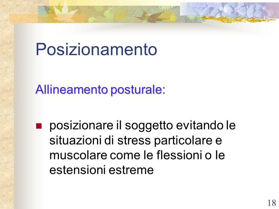 Posizionamento Allineamento posturale: