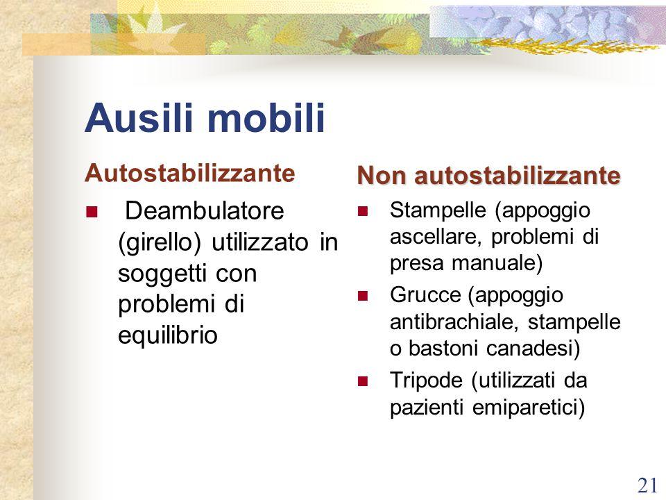 Ausili mobili Autostabilizzante Non autostabilizzante