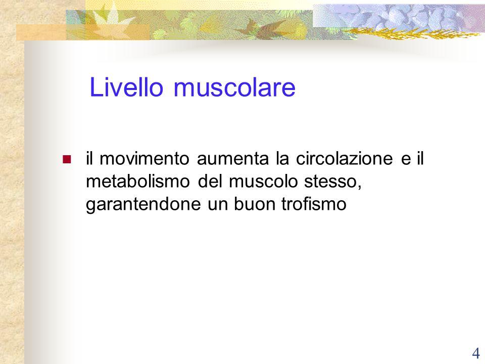 Livello muscolare il movimento aumenta la circolazione e il metabolismo del muscolo stesso, garantendone un buon trofismo.