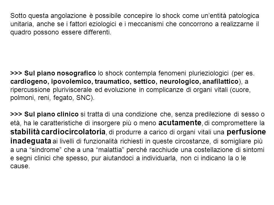 Sotto questa angolazione è possibile concepire lo shock come un'entità patologica unitaria, anche se i fattori eziologici e i meccanismi che concorrono a realizzarne il quadro possono essere differenti.