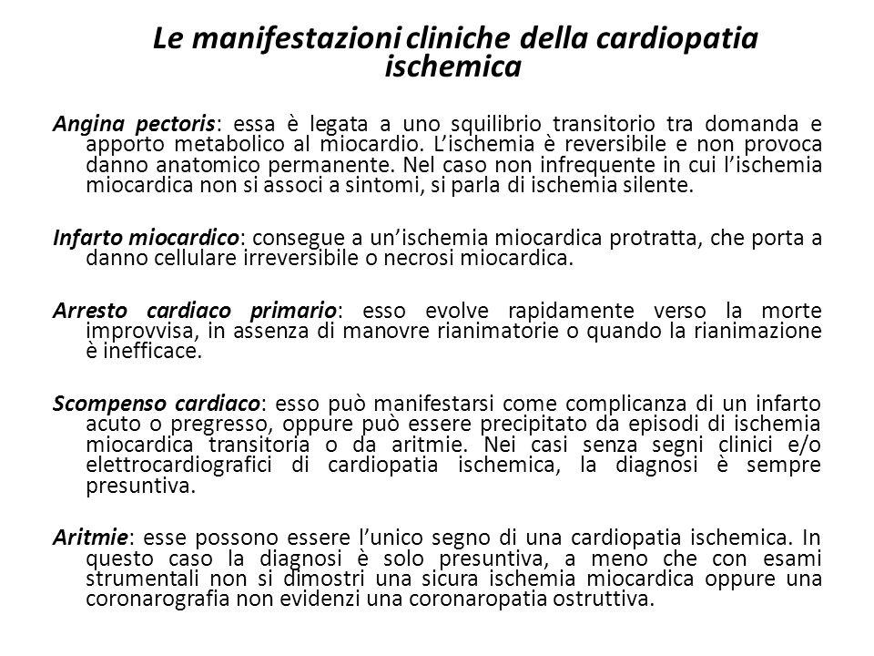Le manifestazioni cliniche della cardiopatia ischemica
