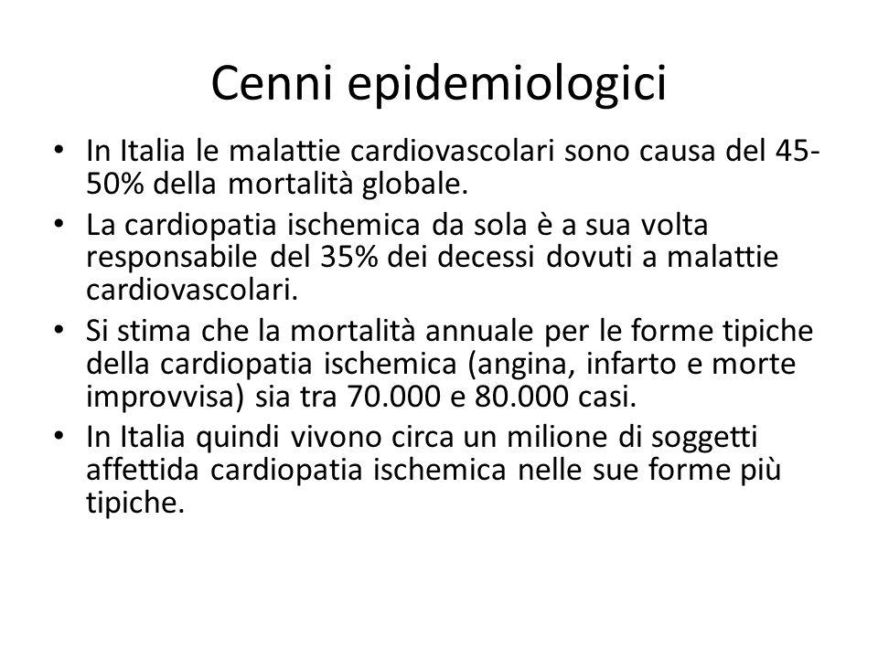 Cenni epidemiologici In Italia le malattie cardiovascolari sono causa del 45-50% della mortalità globale.